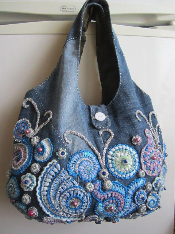 Irish crochet bag...Handmade jeans handbag