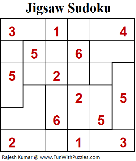 graphic about Jigsaw Sudoku Printable called Jigsaw Sudoku (Mini Sudoku Collection #94) Printable Puzzles