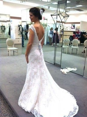 David S Bridal All Over Beaded Lace Trumpet Gown Wedding Dress Off Retail