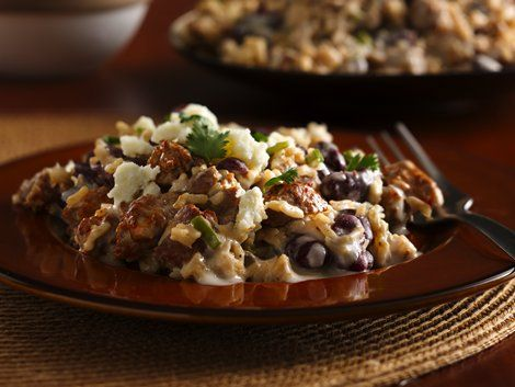Chorizo Beans and Rice - This skillet dinner has it all – sausage, rice and Progresso® beans made using Progresso™ Recipe Starters™ mushroom sauce – ready in 25 minutes.