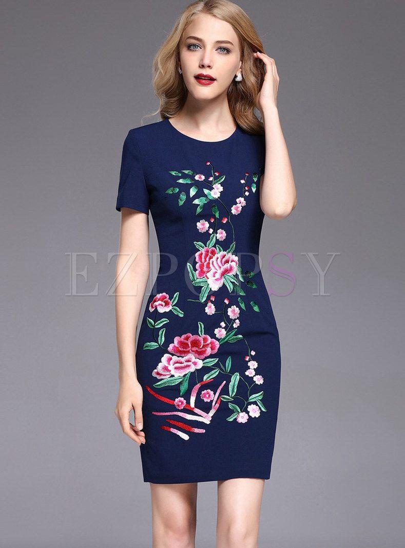 Vintage Embroidered Gathered Waist Short Sleeve Bodycon Dress Short Sleeve Bodycon Dress Evening Dresses Short Womens Sheath Dress [ 1066 x 789 Pixel ]