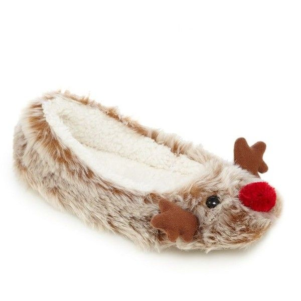 Brown reindeer slippers (155 SEK) ❤ liked on Polyvore featuring shoes and slippers