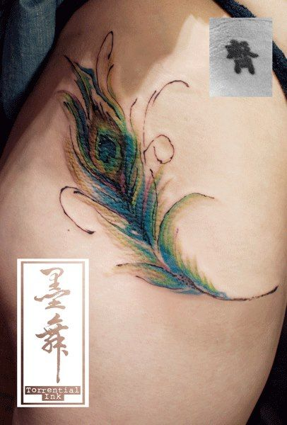Cover Up The Original Tattoo Is Now The Eye Of A Peacock Feather Done It With Sketched Outline And Watercolor P Tattoos Feather Tattoos Peacock Feather Tattoo