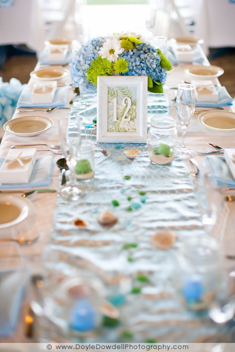 Diy Table Numbers In Photo Frames Beach Theme Wedding Table With
