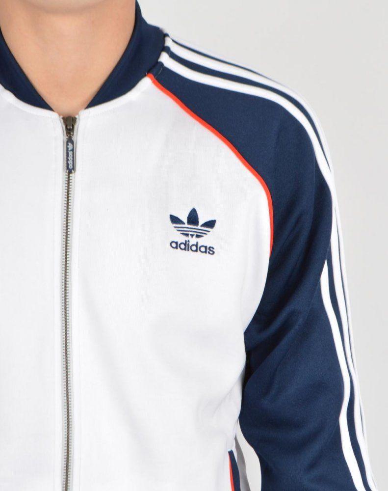 adidas track jacket white
