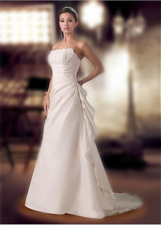 LACE BRIDESMAID PARTY BALL EVENING GOWN IVORY WHITE FORMAL TAFFETA STRAPLESS RUFFLE WEDDING DRESS