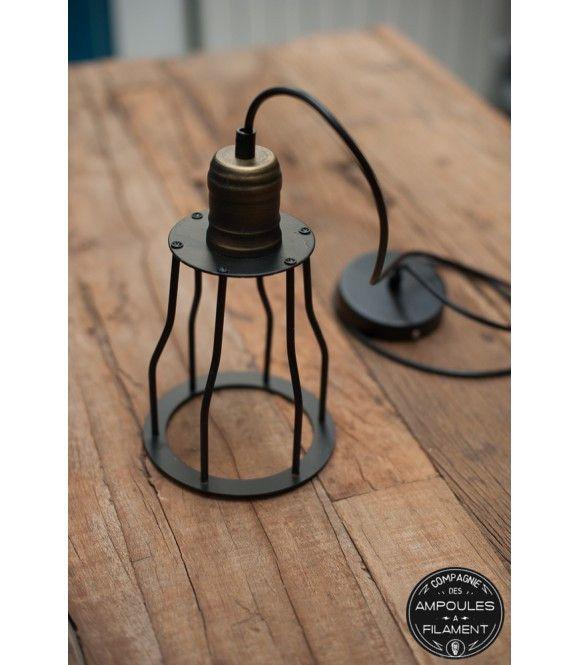 Suspension Vintage À Cage Style Industriel - Pour Ampoule À