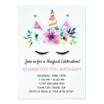 Unicorn Party Invitation Magical Celebration Birthday Cards