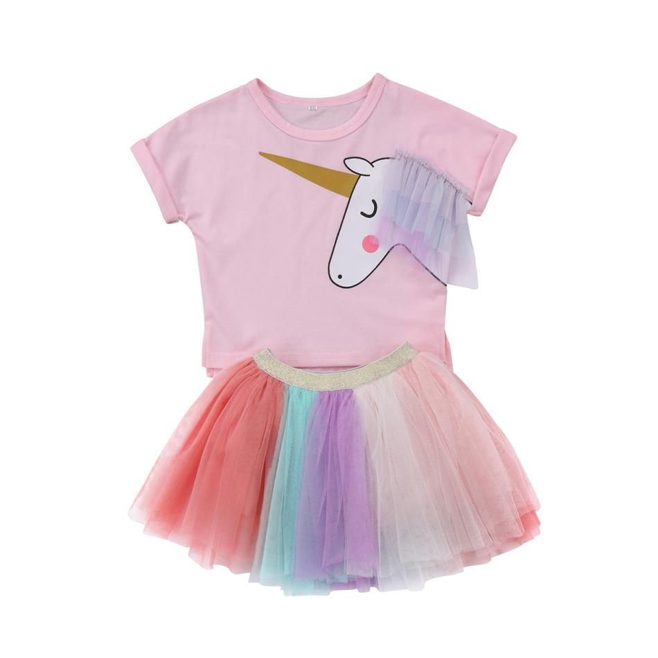 Unicorn Print Girls Kids Party Tutu Skirt Rainbow Lace Mini Dress Outfit T Shirt