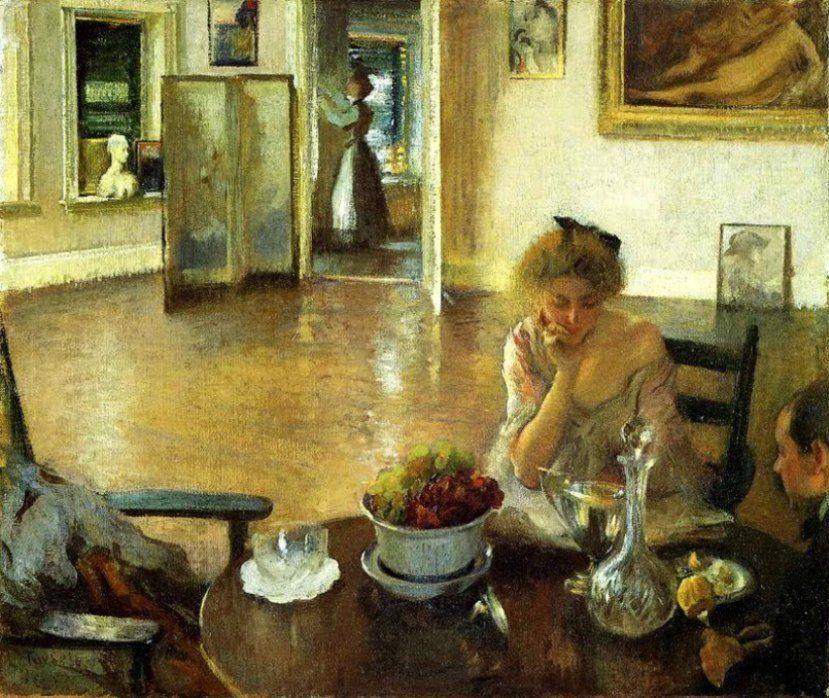 Tarbell, Edmund Charles (b,1862)- Woman Reading; Man Not