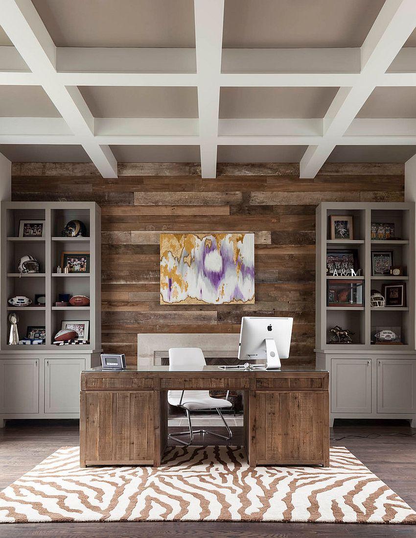Great Reclaimed Wood Accent Wall For The Transitional Home Office [Design: BK  Design Studio / Robert Elliott Custom Homes]