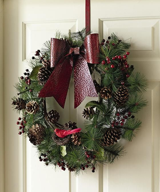 Over The Door Wreath Holder With Red Bow Homedecorators Com