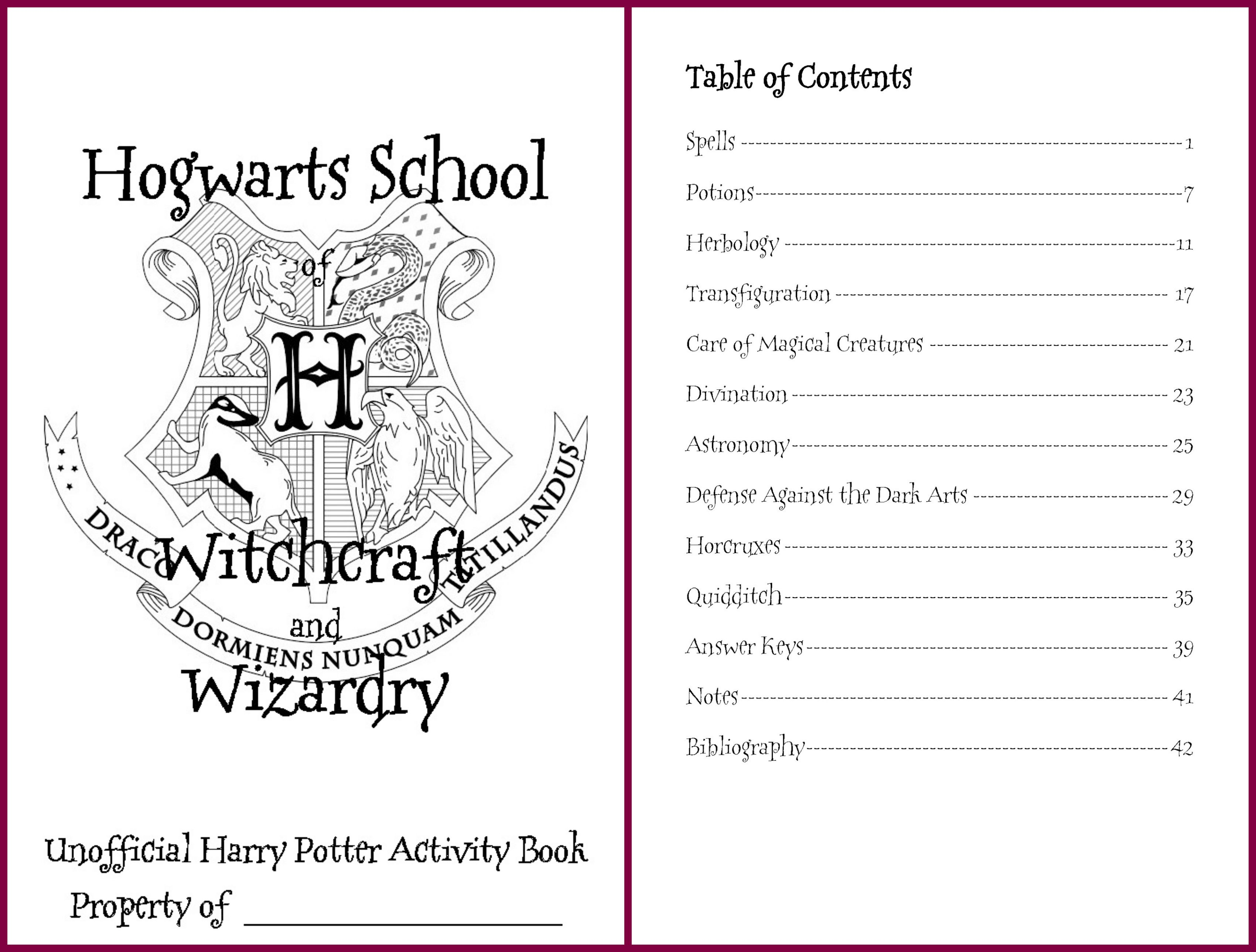 Edition 1 Small Harry Potter Inspired Hogwarts Activity Book Cover And Table Of Contents Harry Potter Activities Harry Potter Journal Harry Potter Colors [ 2577 x 3400 Pixel ]