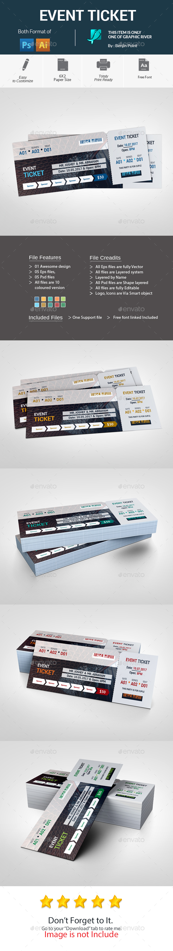 Event Ticket Template PSD, Vector EPS, AI Illustrator | Ticket ...