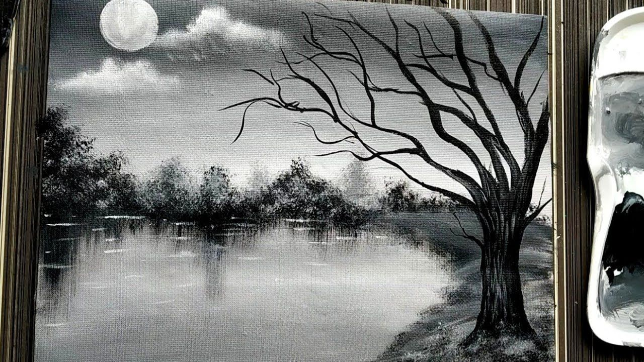 Easy Black White Landscape Painting Tutorial For Beginners Acrylic Painting Techniques Youtube Arte Abstracto Pinturas Abstracto