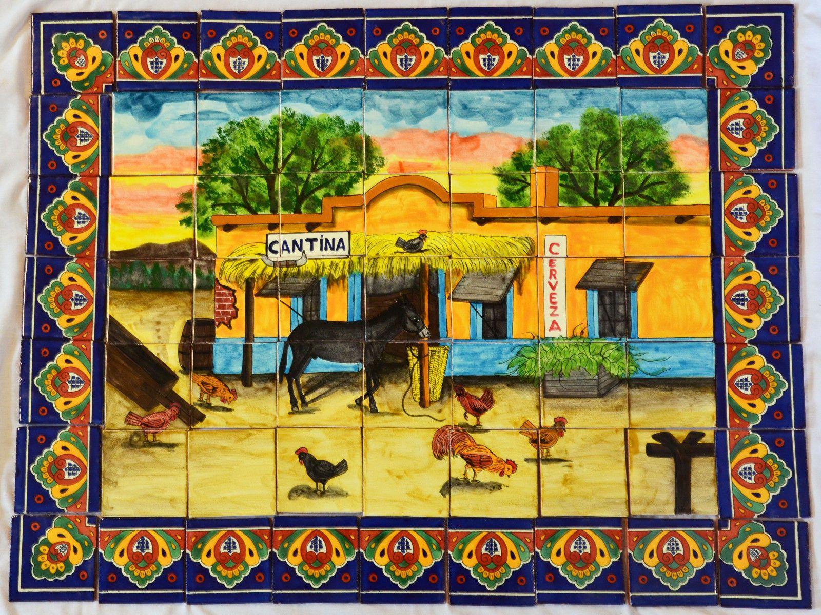 04 Mexican Talavera Mosaic Mural Tile Handmade Folk Art Cantina Bar ...