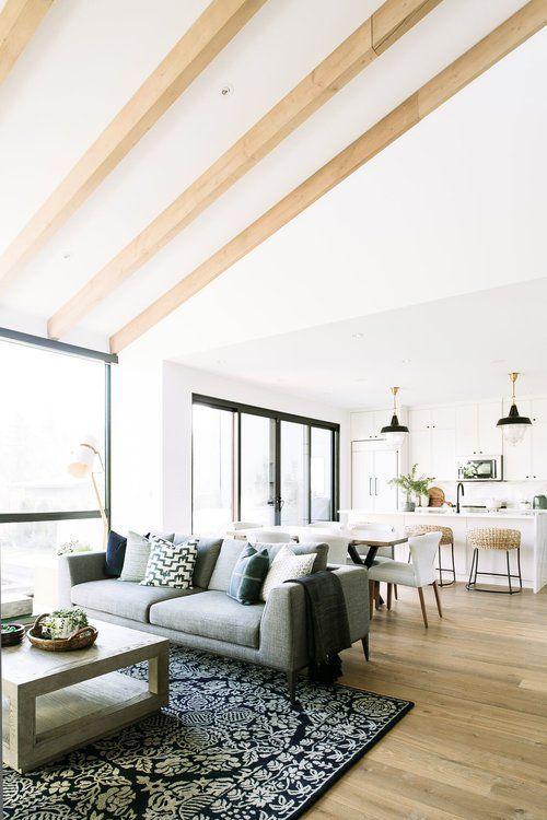 esszimmer offenes wohnzimmer holzbalken neubau grundriss einrichten und wohnen
