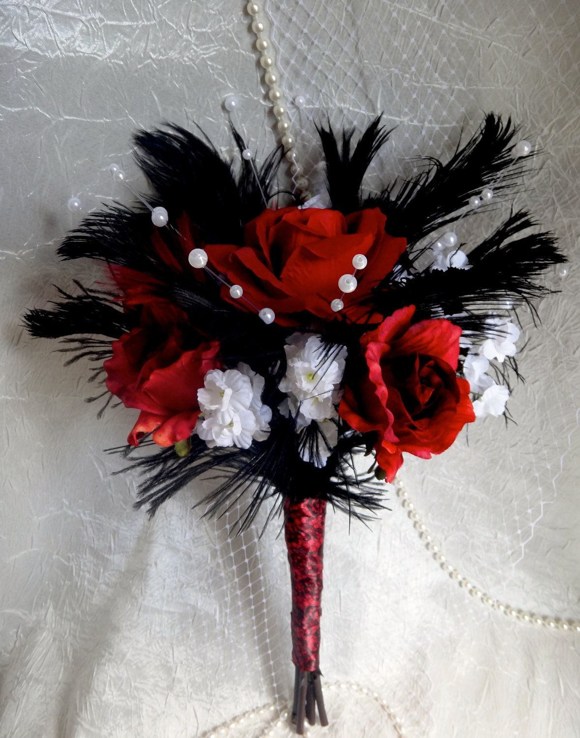 Red Rose Black Bridal Bouquet Ostrich Fathers White Flower And Pearl Accent