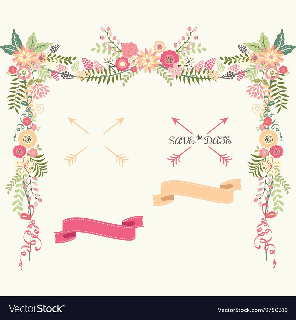 The vector for Wedding Floral Elements Save the Date