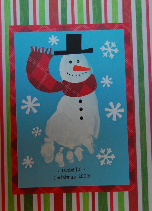 Christmas Hand Craft Ideas Part - 21: Christmas Footprint Art Kids Party Craft Ideas