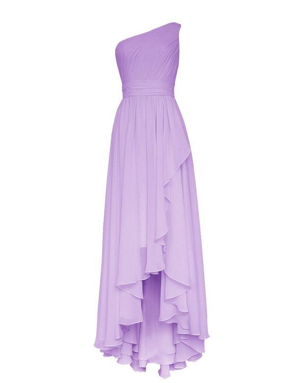 Simple Lavender One Shoulder A Line Hi Lo Chiffon Bridesmaid Dress