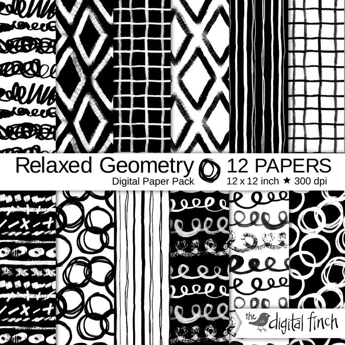 """Hand painted Digital Papers - Relaxed Geometry hand drawn scrapbooking paper - 12x12"""" - 300 dpi - instant download - commercial use by TheDigitalFinch on Etsy"""