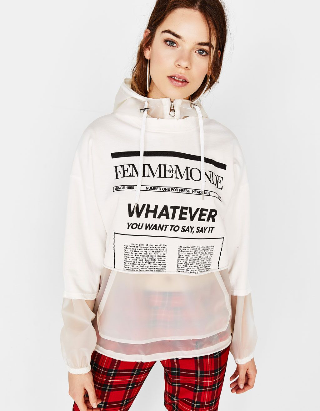 Cropped printed sweatshirt in 2020 Sweatshirts, Hoodies