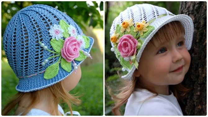 Crochet Panama Flower Hat Free Pattern Video | Baby Kleidung ...