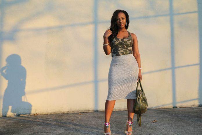 camo bodysuit + gold metallic midi skirt