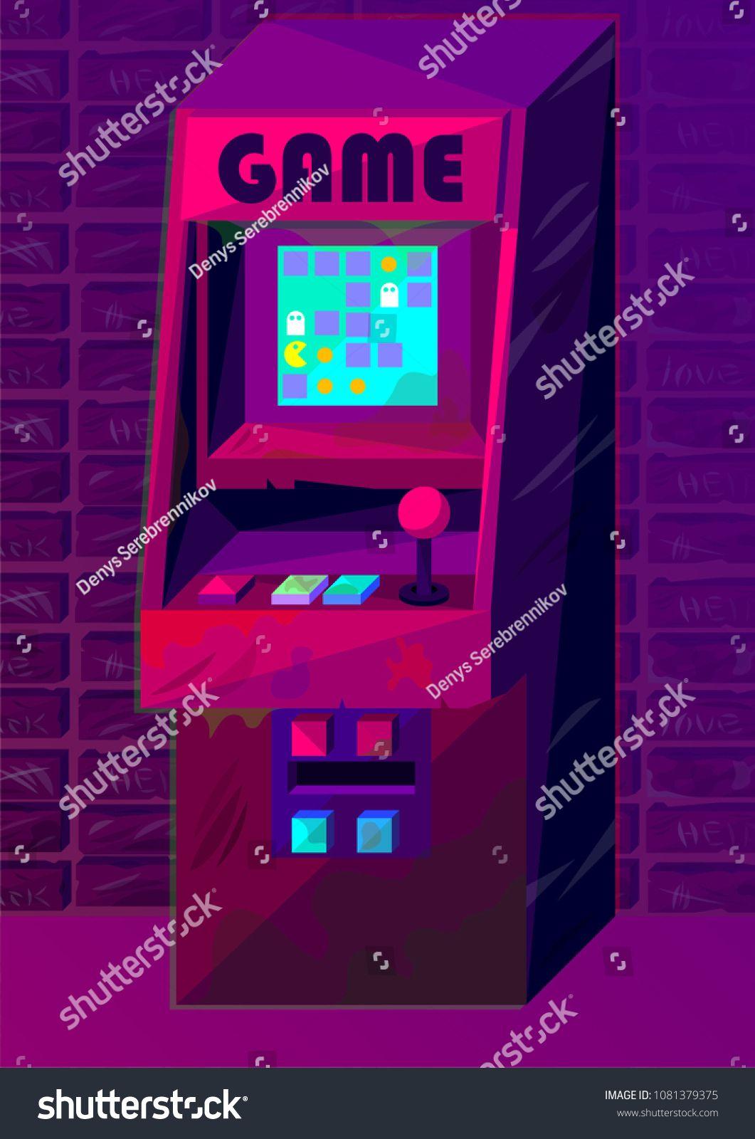 Vector Illustration Arcade Machine In Retro Futurism Style