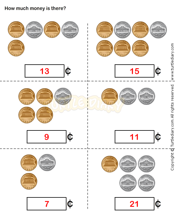 Coin counting worksheets kindergarten