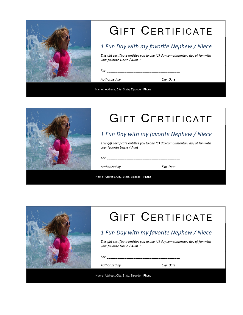 One Day Kids Gift Certificate Template Download This Printable One