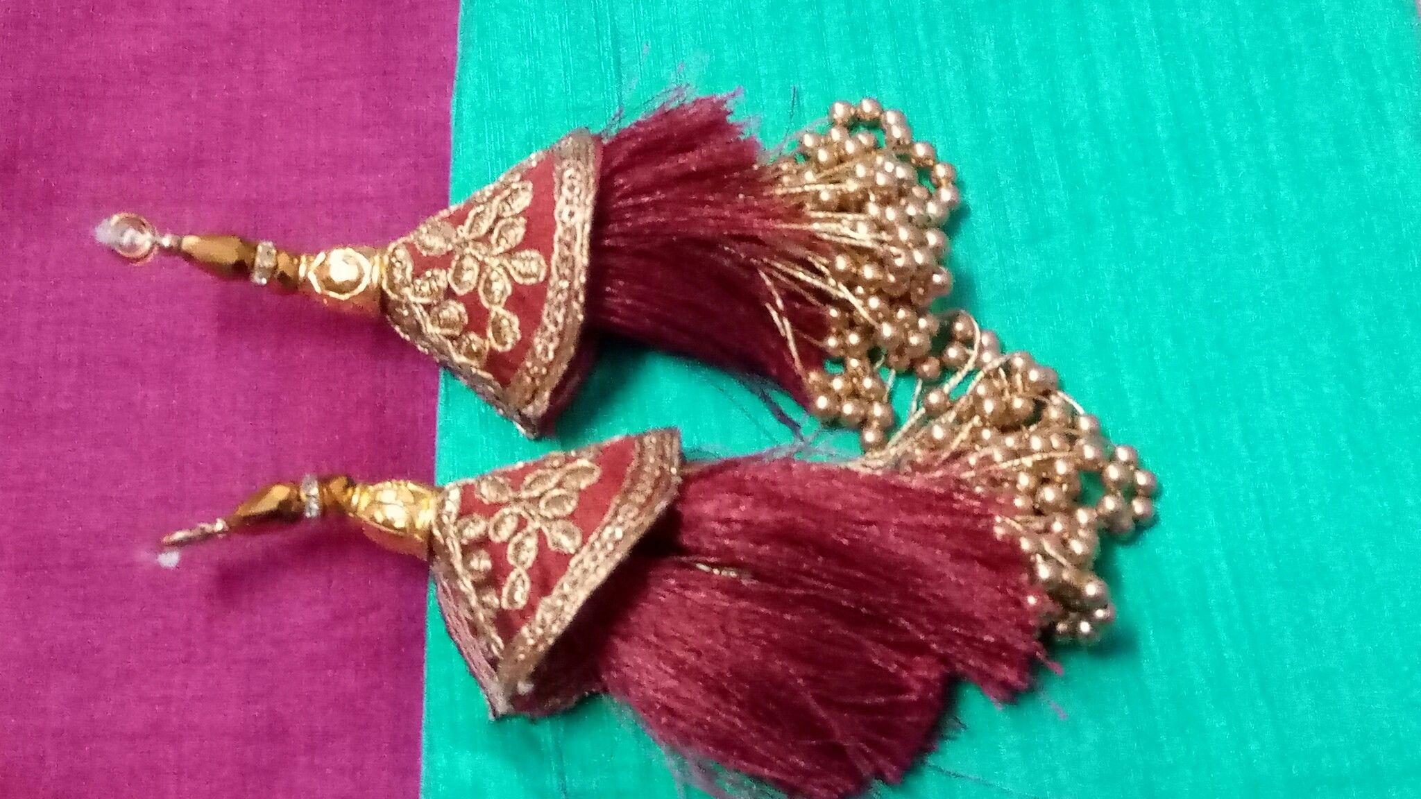 1 Pair Designer Tassel Latkans Zari Stone Mirror Decorative Tassels Accessories