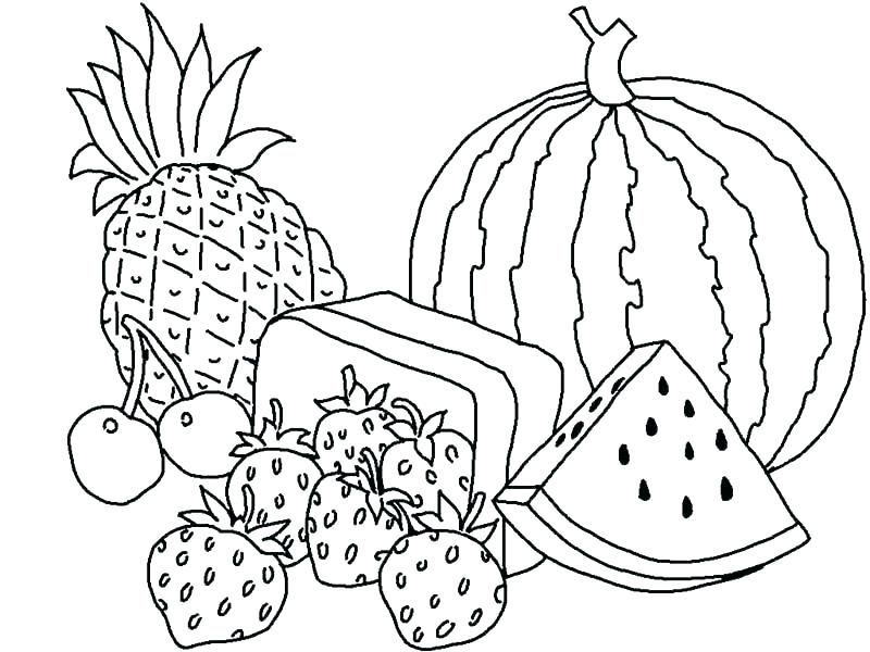 Summer Fruit Coloring Pages  Fruit coloring pages, Easter