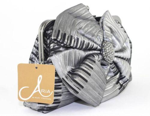 Mary Frances ARIA Silver Black Stripe Bow Should Bag Bridal Clutch Purse 13-1082