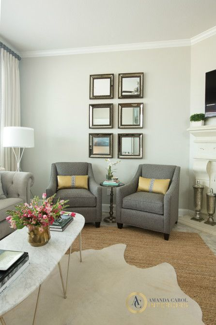Amanda Carol Interiors Emerald Green Gold Mirrors: The Wall Color Is Sherwin Williams Repose Gray. Its