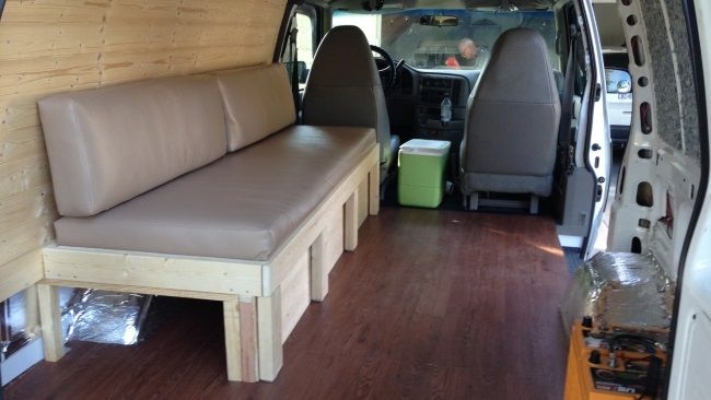 A Look At The Sofa Bed In Couch Mode This Astro Camper Van Extends Out And Cushions Drop Down To Make 36 Inch Wide