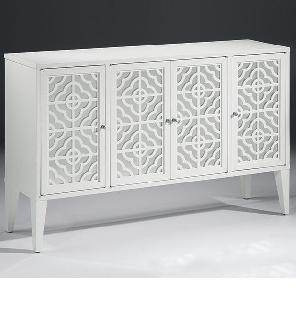 Charmant Mirrored Furniture   Lacquered White Credenza With Mirrored Doors