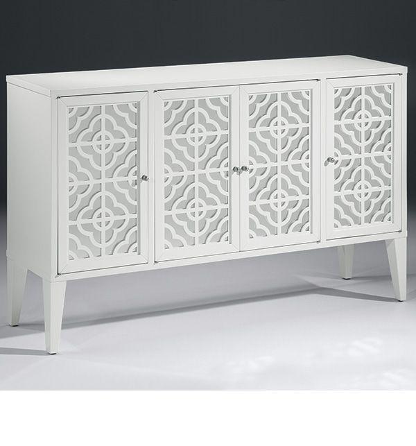 White Credenzas: Mirrored Furniture And Lacquered White Mirrored Credenza,