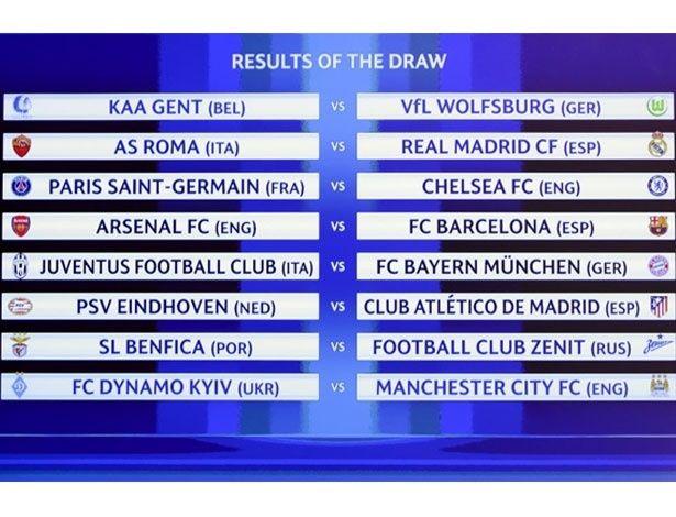 A Uefa definiu os duelos das oitavas de final da Liga dos Campeões nesta segunda-feira. Os italianos foram os que 'deram mais azar' no sorteio com duas ped...