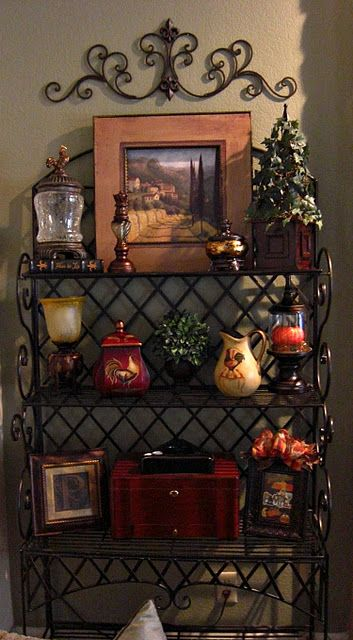 bakers rack decor for the home pinterest bakers rack tuscan decor and tuscan style. Black Bedroom Furniture Sets. Home Design Ideas