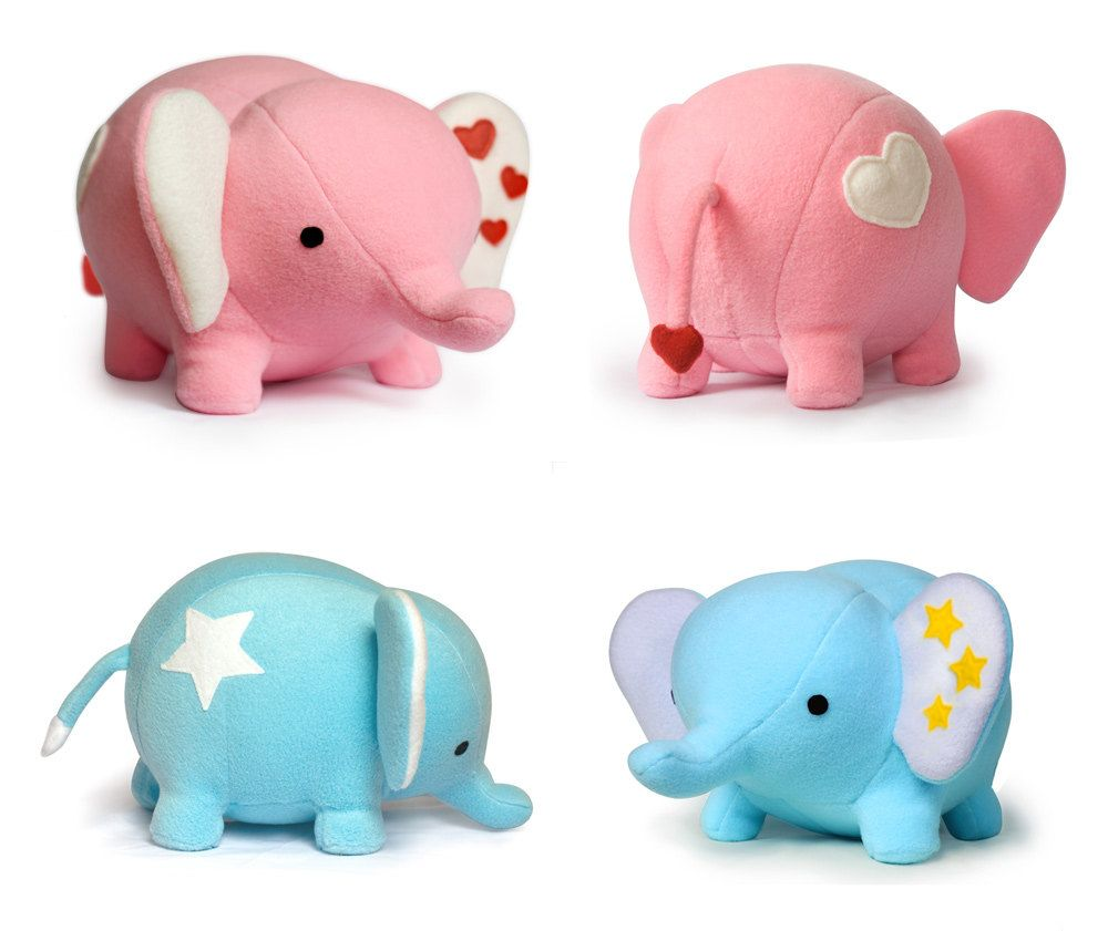 Blue or pink elephant plush soft toy 4900 via etsy stuffed toy patterns by diy fluffies giveaway love elephant sewing pattern pdf ended jeuxipadfo Choice Image