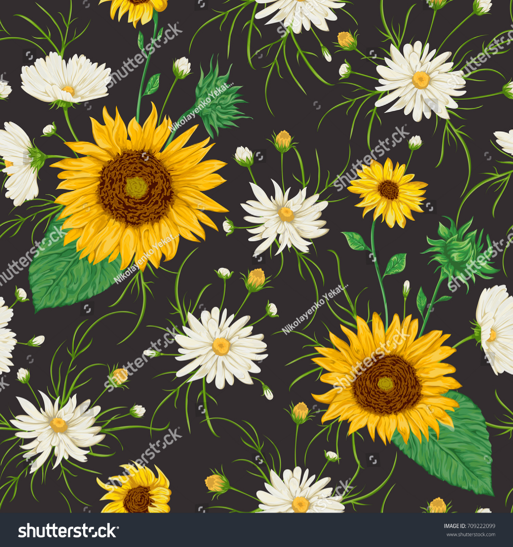 Seamless Pattern With Sunflowers And White Chamomile Flowers