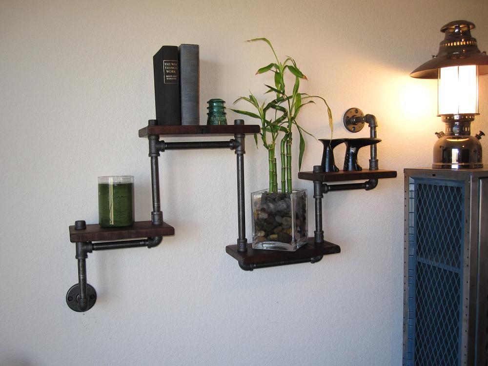 VINTAGE-RETRO-ANTIQUE-INDUSTRIAL: Industrial Pipe Shelf - four tier walnut - $199.00