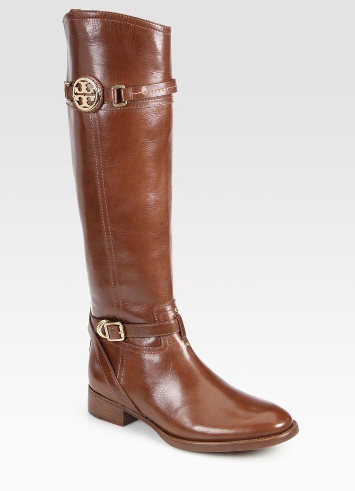 b755c4f9ee84 NIB Tory Burch Calista Flat Tall Riding Leather Almond Boots Size 8 ...