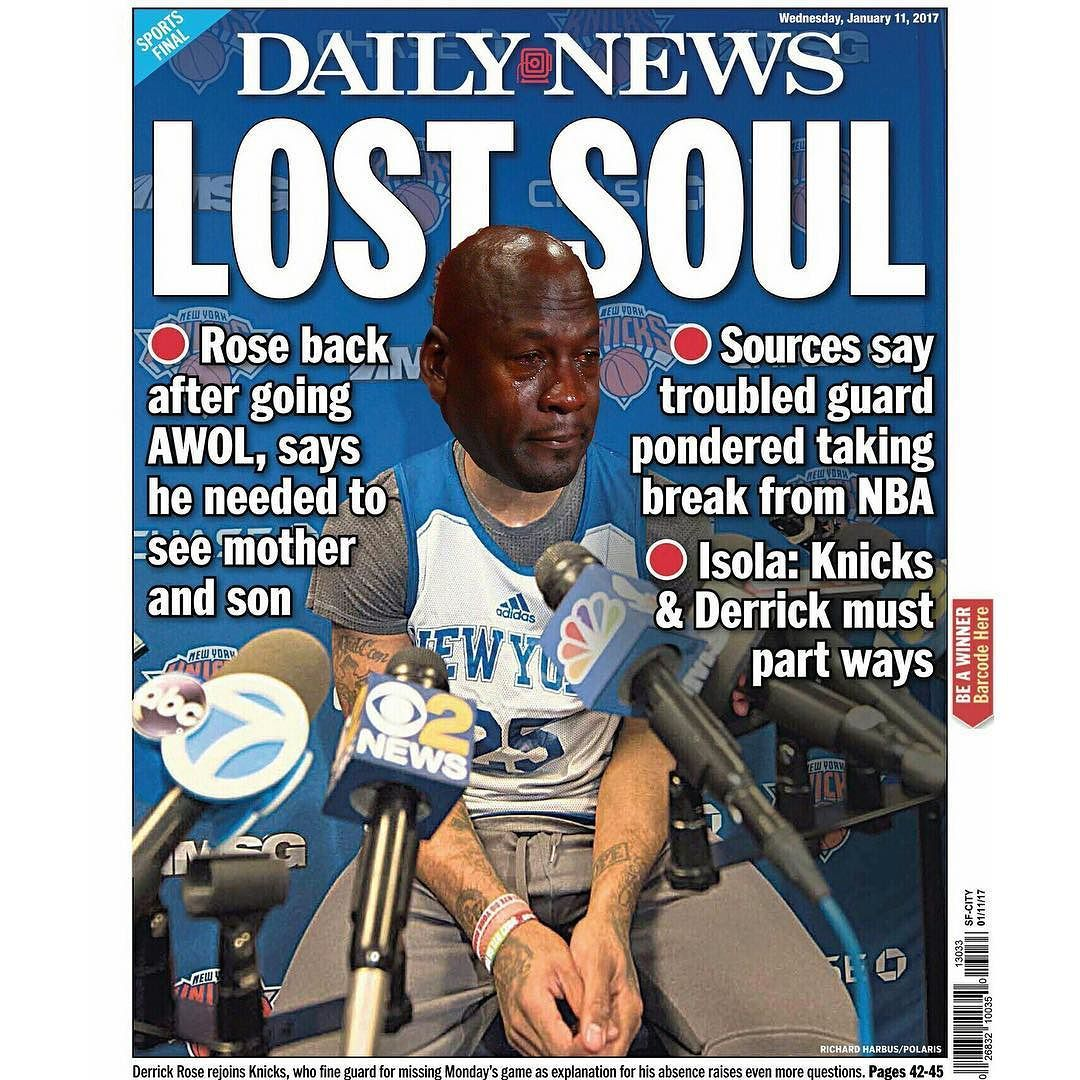 SMH. cryingjordanface newyorkknicks derrickrose