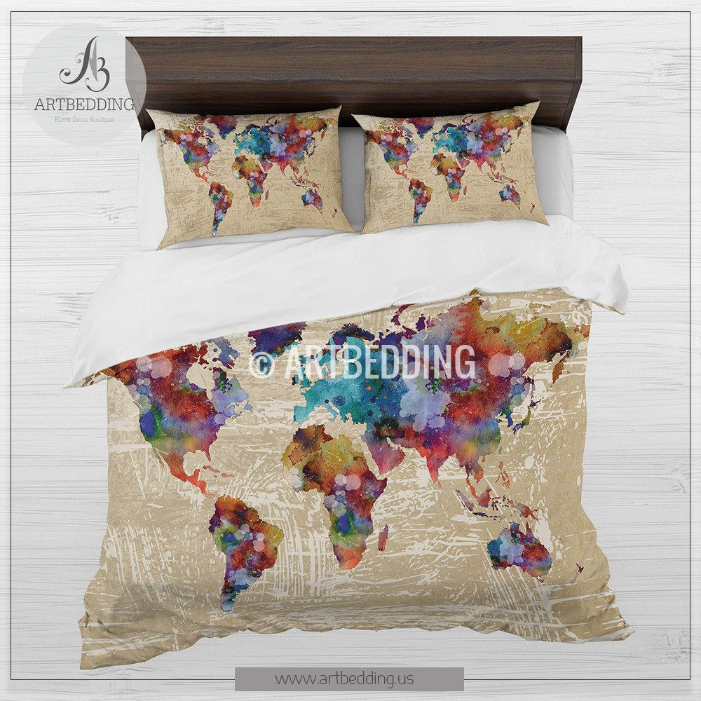 Watercolor world map bedding, Boho map duvet cover set ...