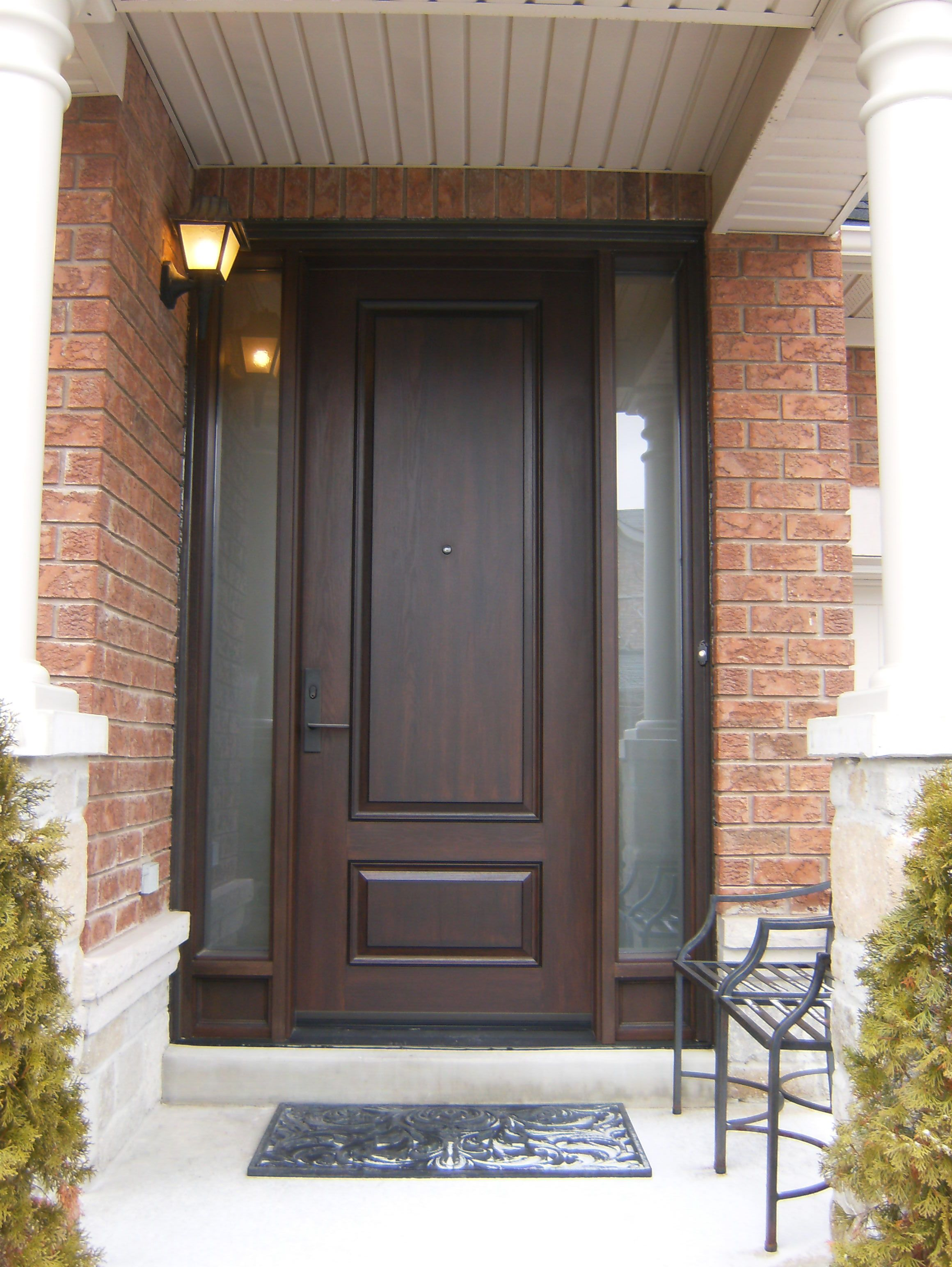 Double door and transom replaced with 8 39 fiberglass door for Fiberglass entry doors with sidelights