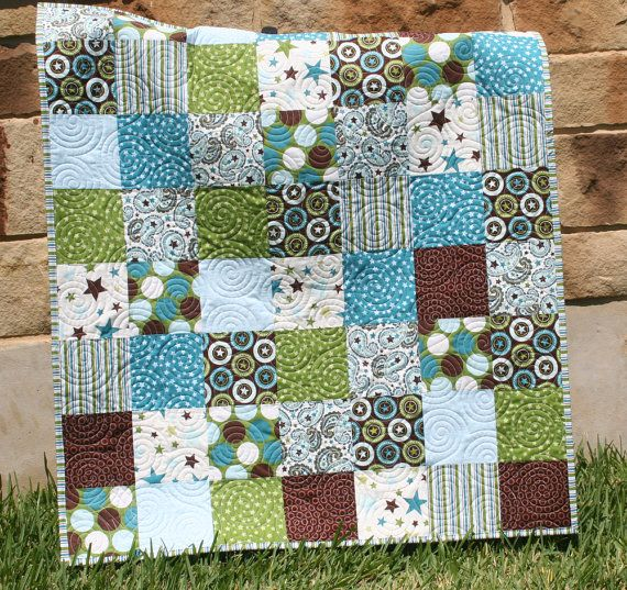All Star Boy Quilt Blue Green Patchwork Brown Crib Bedding | quilt ... : teal and brown quilt - Adamdwight.com