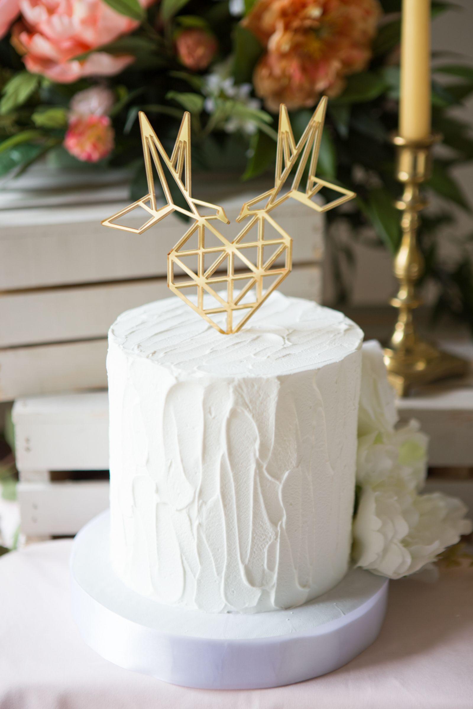 Geometric Wedding Cake Topper Birds and Heart Love Cake Topper Gold ...